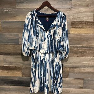 Vince Camuto NWT tie dye navy white lined dress 12